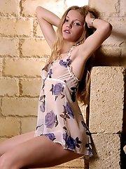Cute Fresh Girl In A Summer Dress Posing Near Brick-wall Revealing Her Hot Body