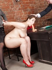 Naked BBW blows a dildo for the staff clerks
