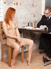 Indecent posing and cunt rubbing at the nude interview