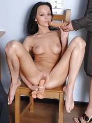 Toy-fucked totally undressed business girl