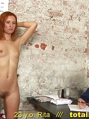 Hairy pussy examined various ways at the interview