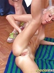 Coach spreads naked blondie's long shapely legs