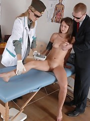 Merciless doctors torture a scared gal