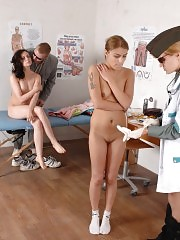 Perverted doctors checking two nude teen girls