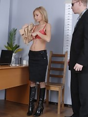 Business girl strips down at an interview