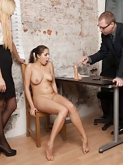Undressed candidate tested with a couple of dildos