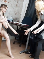 Skinny secretary undressed for a sex interview