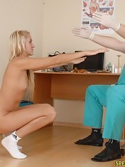 Edgy blondie undergoes a nude medical exam
