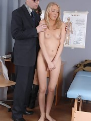 Army blondie examined by two severe doctors