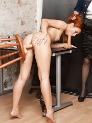 Secretary masturbates with dildos for staff managers