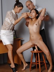 Dildo job sex testing of small oriental holes