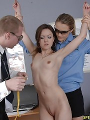 Nude in the room for group medical exams