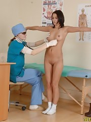 Nude medical girl passes some sports tests