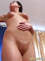 Submissive naked gymnast shows her glittering body