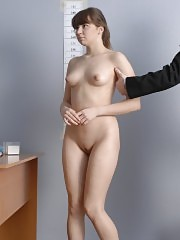 Shooting an undressed young job candidate