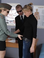 Obedient recruit passing thru a group med exam