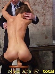 Masturbation in stockings after embarrassing interview posing