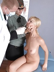 Shocking group medical exam of a shy girl