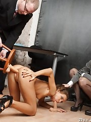 DPed dildo slave of two staff managers