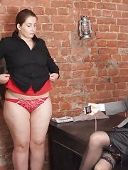 Fatty undressed to the red panties and bra for the job