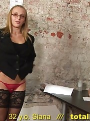 Disrobed interviewee poses and rubs her clit