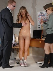 Disobedient girl forced to pass a military physical