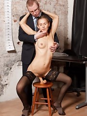 Dildo DP in the black stockings at the interview