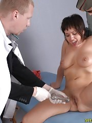Hard-driving doctors examine a nude sexpot