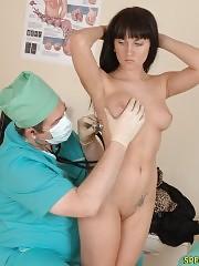 Brunette undergoes a total female health survey