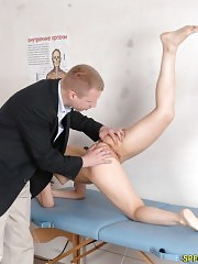 Nude examinee passing a few gymnastics tests