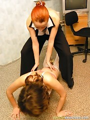 Boss makes her secretary do naked gymnastics
