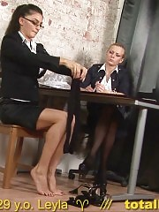 Gorgeous secretary stripped for a masturbation test