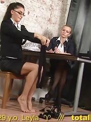 Gorgeous secretary stripped for a masturbation test