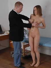 Kinky male doctor attacks a nude test-girl
