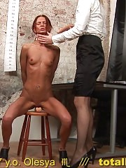 Confused secretary strips and masturbates at the interview