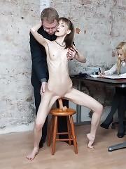 Exhausting dildo testing of a leggy slim secretary