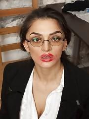 Fucking a big-boobed secretary with silicone cocks