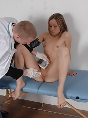 Scrupulous med exam of a nervous nude girl