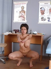 Group physical exam of a busty sports girl