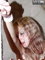 Nude young flexigirl in bondage