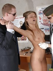 Girl caught and put to an army medical examination