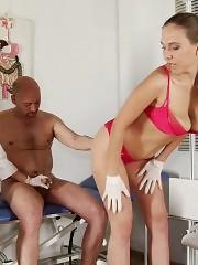 Geni exam and milking at the femdom examination