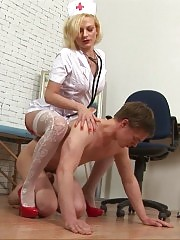 CFNM exam by a nurse in the white stockings