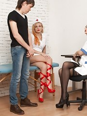 Nurses turned a shocked guy into their CFNM slave