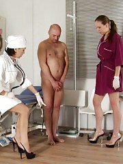 Sexy nurse helps to donate sperm under control