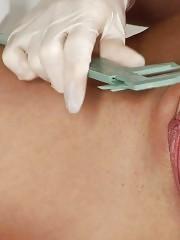 Male genital exam with femdom handjob