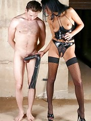 Gorgeous Lady Anna and her male slave
