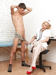 Nurse in stockings tramples and examines a cock