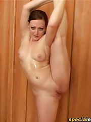 Synchronous workouts at a group nude training