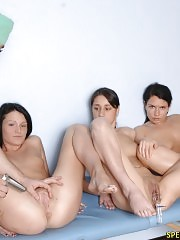 Bad college bitches undergo a nude gyno exam
